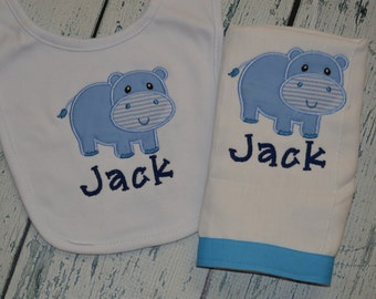 Hippo Bib and Burp cloth Set Monogrammed Personalized
