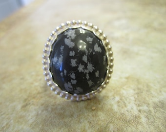 Sterling Silver Snowflake Obsidian Ring - Size 7 3/4 - FREE RESIZING
