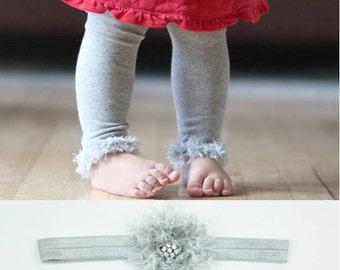 Silver Grey Baby Toddler Leg Warmers & Headband