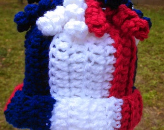 Red White Blue Curly Q's Crochet Hat