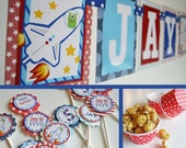 Spaceship Birthday Party Decorations Fully Assembled Red White Blue