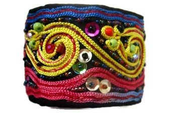 Beaded and Braided Cuff Bracelet -Hippie Boho - Unisex Wrist Band