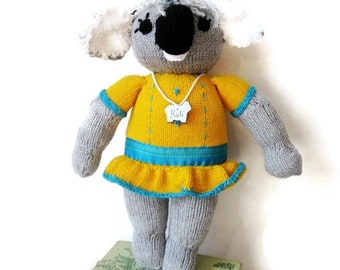 "Knitted Koala Bear-Handmade- Stuffed- OOAK"" Stuffed Animal- Custom Made"