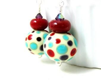 Polka Dot Earrings, Fun Earrings, Statement Earrings, Red Turquoise Purple Lampwork Earrings, Retro Earrings, Funky Glass Jewelry  Fun Spots