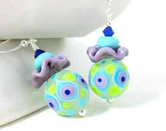 Fun Earrings, Ruffle Earrings, Purple Blue Green Earrings, Funky Glass Earrings, Colorful Jewelry, Lampwork Earrings, Spring Earrings - Tutu
