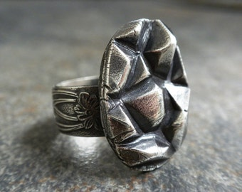 Silver Statement Ring Bohemian Jewelry Rock Crystal Points