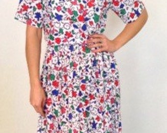 1980s French vintage white red green and blue floral dress - small medium S M