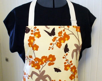 Wildflowers Butterflies Womens Apron Full Apron Chefs Apron Adjustable Apron Joel Dewberry Ginseng Fabric Orchid Ivory Rust Handmade MTO