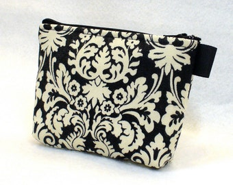 Black and Cream Damask Cosmetic Bag Makeup Bag Gadget Bag Cotton Zipper Pouch Handmade MTO