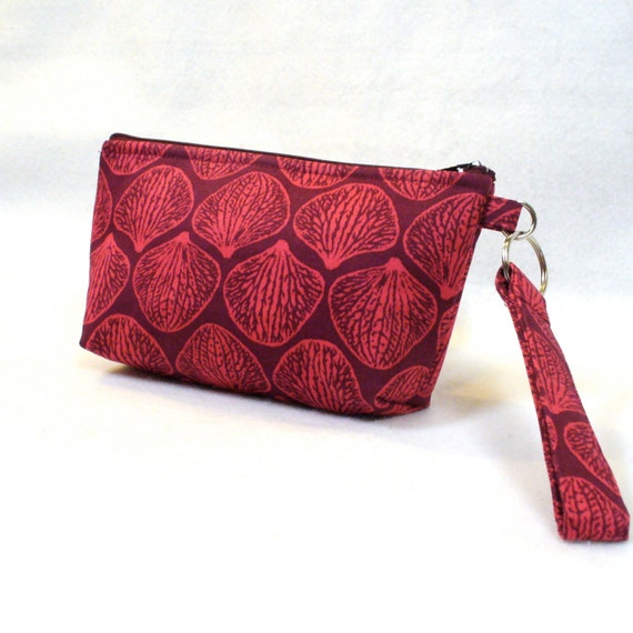 SALE! Cosmetic Bag Wristlet Clutch Purse Zipper Pouch Key Ring Fob Joel Dewberry Orchid Petals Raspberry Mulberry Handmade