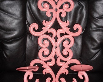 upcycled painted CORAL Wall Sconce 2 arm Fleur De Lis Scrolly Romantic Wall Hanging Pop of Color Boho candle holder