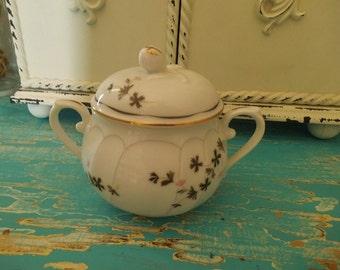 Vintage Mikasa Monaco Sugar Dish ~~ Porcelain Pink Gray thistle ~ Shabby Chic Cottage