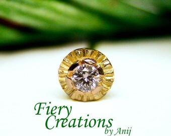 "Nose Screw / Tragus stud ""Fiore di Capri"" - 18k SOLID Yellow Gold with an exquisite 3pt Fine White Diamond, OOAK"