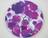 Mouse Pad mousepad / Mat - Rectangle or round - Violet Nasturtiums Purple water color flowers - cubicle decor office desk coworker gift
