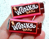 Food Jewelry Willy Wonka Bar Charm - Miniature Food Jewelry, Wonka Candy Jewelry, Handmade Jewelry, Chocolate Factory Golden Ticket, Food