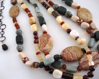 Triple Strand Necklace with Warm Semi Precious Gem Stones FREE earrings