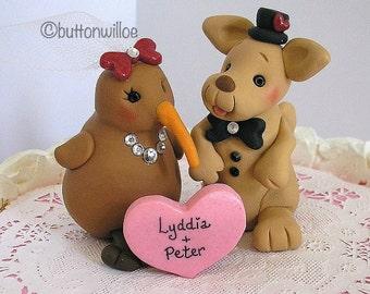 Kangaroo and Kiwi Animal Wedding Cake Topper with Personalized Heart