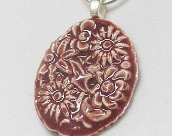 Dark Pink Floral Porcelain Necklace