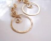 Handmade Gold Hoop Earrings Hammered with Swirls