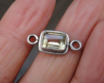 Vintage Supply for jewelry Making - Sterling Silver Citrine Glass Connector