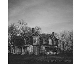 Abandoned House Photograph, 8x8 Print, Black and White Photography, Halloween Decor, Long Island Art, Architecture Photography, Rural Art