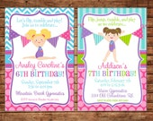 Girl Gymnastics Gym Tumbling Cheer Dance Bunting Banner Pennant Birthday Invitation - Customize haircolor/skincolor - DIGITAL FILE