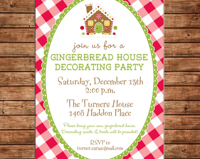 Holiday Christmas Gingerbread Decorating Decorate Cookie Swap Gingham Check Invitation - DIGITAL FILE