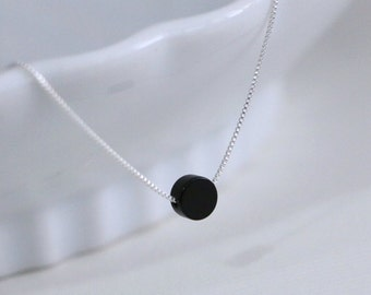 Black Onyx Necklace, Layering Necklace, Everyday Necklace, Gift for Her, Girlfriend Gift, Gift for Wife, Casual Necklace, Black Onyx Jewelry