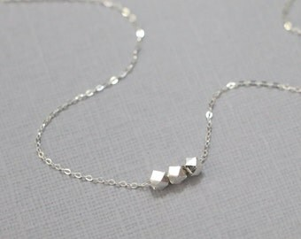 Sterling Silver Nugget Necklace, Sterling Silver Layering Necklace, Minimalist Necklace, Casual Necklace, Everyday Necklace, Gift for Her