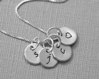 Sterling Silver Initial Necklace, Personalized Sterling Silver Necklace, Monogram Necklace, Gift for Her, Girlfriend Gift, Gift for Wife