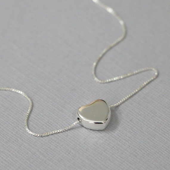 Sterling Silver Heart Necklace, Bridesmaid Necklace, Bridesmaid Gift, Wedding Necklace, Flower Girl Necklace Flower Girl Gift Heart Necklace
