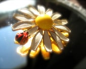Weiss Lady Bug on a Daisy Brooch Sixties Signed