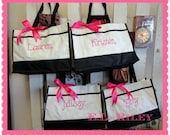 Personalized Bridesmaid Gift Tote Bags, Embroidered Tote, Monogrammed Tote, Bridal Party Gift, Set of 4