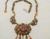 Vintage West German Amber Stones Necklace