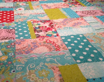 Bright & Modern floral patchwork bed quilt for girls