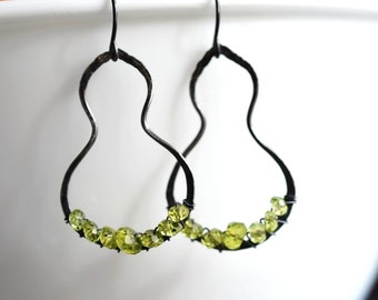 Peridot Sterling silver Earrings - Bottle Gourd - metalwork - hand forged - hand fused - hammered - wire wrapped - fine silver
