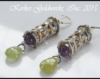 Green Garnet and Amethyst Earrings Sterling Silver  Lantern Wind Chime Handmade