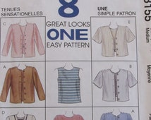 McCalls 8155/Uncut Sewing Pattern/Misses/Women's Top and Jacket in 2 Lengths/size 12,14/Size Medium/Short/Long/Sleeve