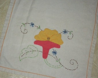 Vintage Tablerunner/Dresser Scarf/Cotton Blend/Appliqué and Embroidered Design/Handmade