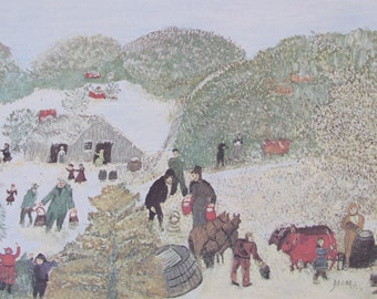 Grandma Moses, Vermont Sugar, 1961  -  Vintage Book Page/Color Print/Unframed Print--10.5 x 7 in