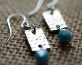 Funky silver and blue czech glass dangle earrings