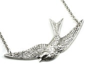 SALE 50% OFF Nautical Rockabilly Necklace - Lullaby - Soaring Swallow in Antiqued Sterling Silver Plate - Classy and Sassy