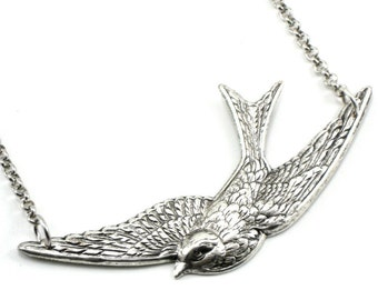 Nautical Rockabilly Necklace - Lullaby - Soaring Swallow Bird Pendant with Antiqued Silver Plated Rollo Chain