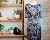 Amelie Liberty Print Dress - sheath dress - silk dress -  knee length dress with sleeves - semi formal dress - Liberty of London dress