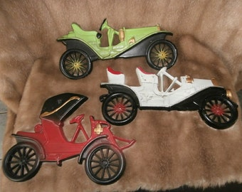 Cast Iron Cars ~ Autos Midwest Antique  Cars Home Decor  Cast Iron Wall Hangings Vintage Wall Decor
