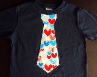 Boys Valentine Tie Shirt-  Boys Valentine Shirt -Toddler Valentines Day Shirt- Heart Tie Shirt