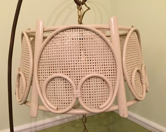 WRAPPED RATTAN CHANDELIER Vintage Lighting Beach Tropical Boho Decor Chandelier Rattan Lamp Wicker Chandelier  at A Vintage Revolution