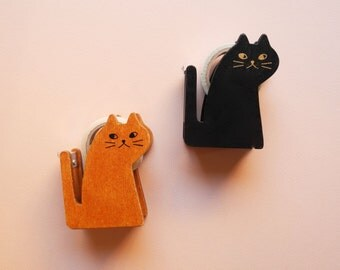 Cute Wooden Cat Tape Dispenser