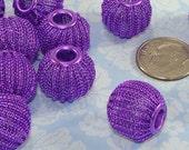 12 Purple Mesh Beads 16mm Metal Beads Pumpkin Melon Jewelry Supplies for Big Hoop Earrings and Friendship Bracelet Making - Bulk Beads