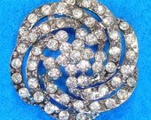 Rhinestone Flower Pendant Connector Swirl Gunmetal with Crystal (47120) Bracelet Bar Component Antique Estate Inspired Jewelry Supplies